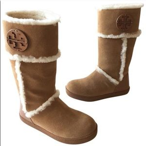 Tory Burch Camel Amelie Sheering Trim Boots 9.5